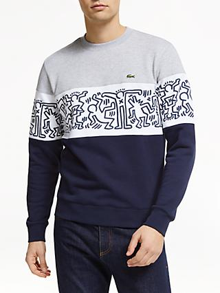 huge discount dd1b3 d832c Lacoste x Keith Haring Print Colour Block Crew Sweatshirt, Navy Silver