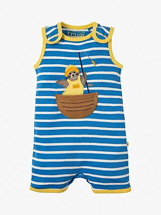 56df581a71 Frugi Baby Organic Cotton Lundy Seal Applique Stripe Romper
