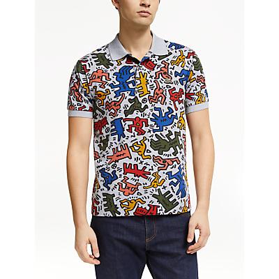 Lacoste x Keith Haring Allover Print Polo Shirt, Silver/Multi