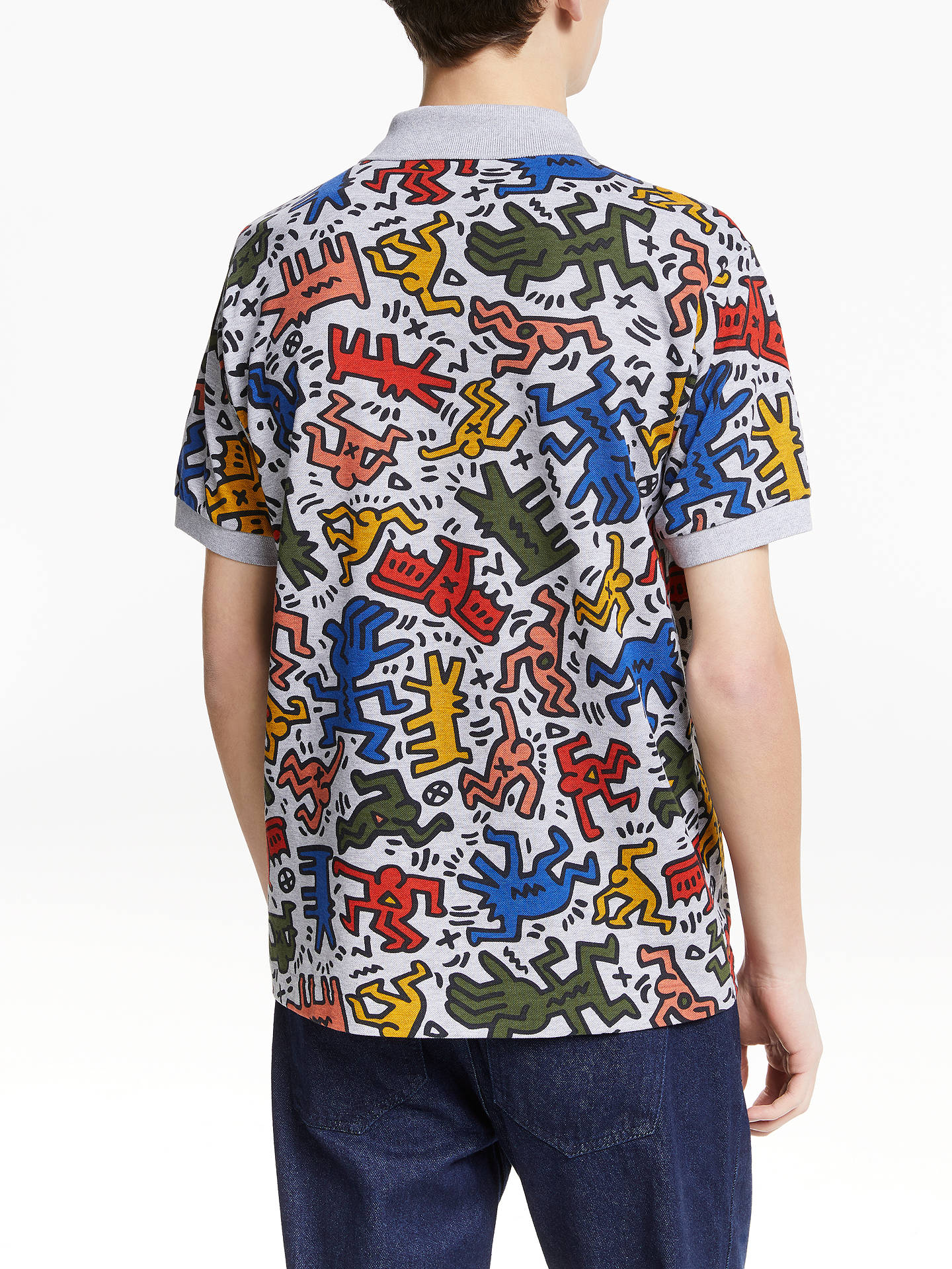 7f989ba4 ... Buy Lacoste x Keith Haring Allover Print Polo Shirt, Silver/Multi, S  Online ...