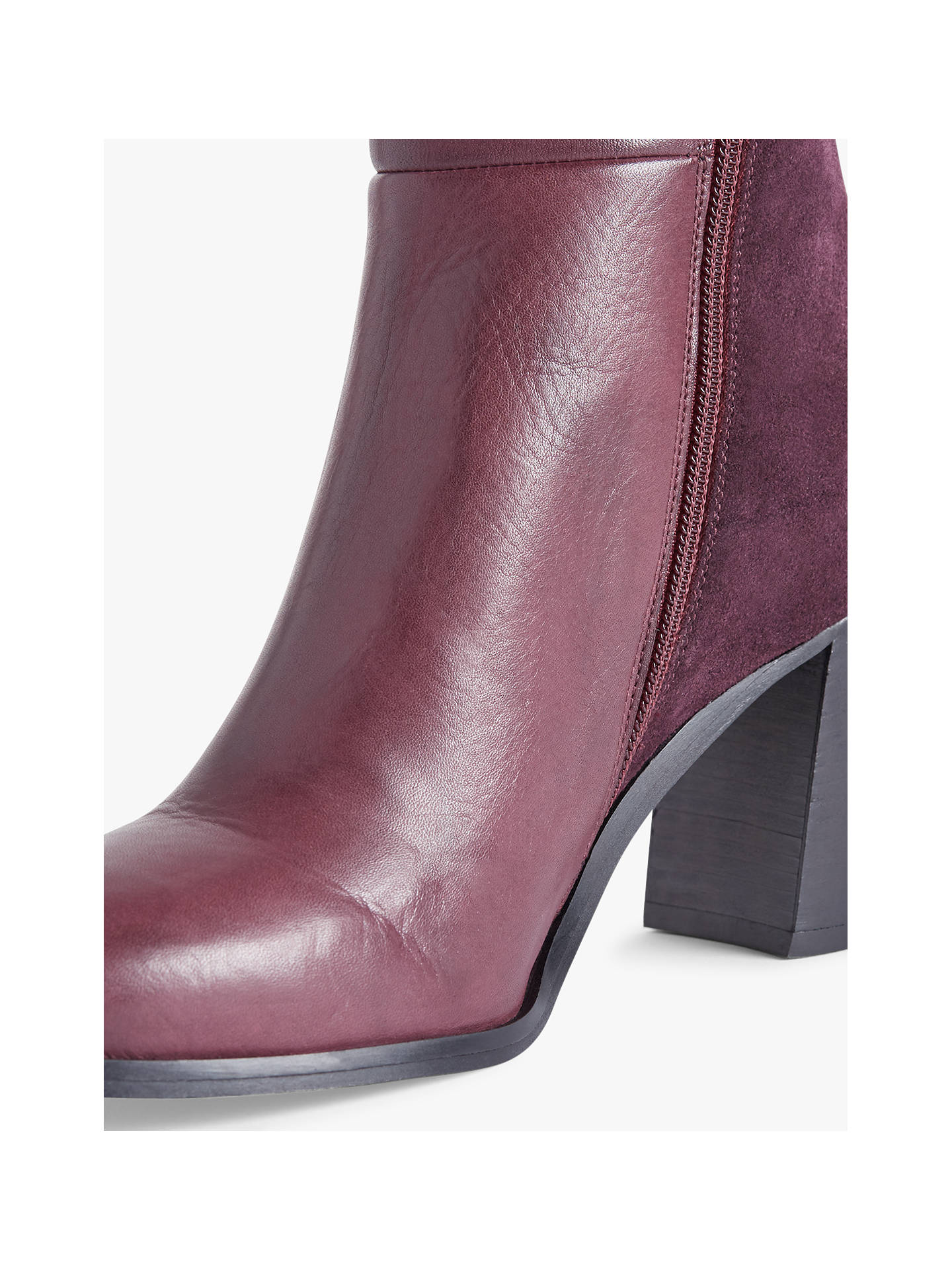 Buy Jigsaw Mai Block Heel Ankle Boots, Wine Leather/Suede, 6 Online at johnlewis.com