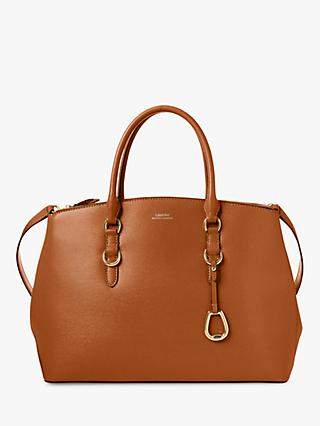 Lauren Ralph Lauren Large Double Zip Leather Satchel