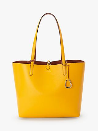 Lauren Ralph Lauren Reversible Medium Tote Bag, Sunflower/Tan