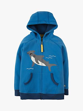 Frugi Children's Organic Cotton Shark Zip Up Hoodie, Blue