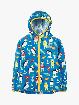 Frugi Children's Puddle Buster Penguin Print Jacket, Blue