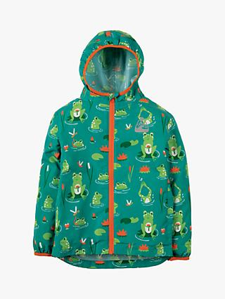 Frugi Children's Puddle Buster Frog Print Jacket, Green/Multi