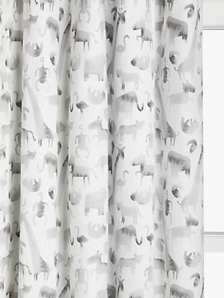 little home at John Lewis Safari & Friends Pencil Pleat Pair Blackout Lined Children's Curtains