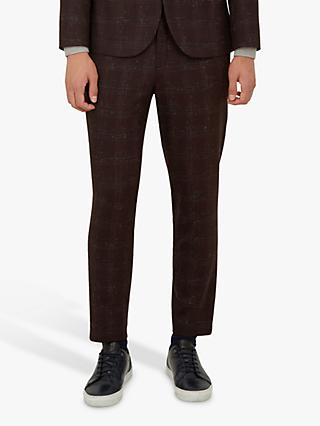 Ted Baker Boucle Check Trousers, Dark Red