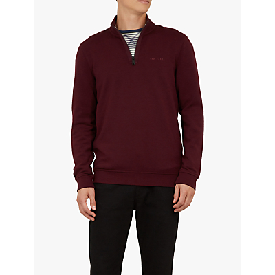 Ted Baker Jundo Half Zip Branded Jumper, Dark Purple