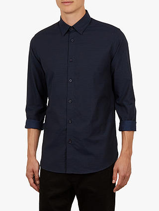 Buy Ted Baker Myll Textured Long Sleeve Shirt, Navy, 14.5 Online at johnlewis.com