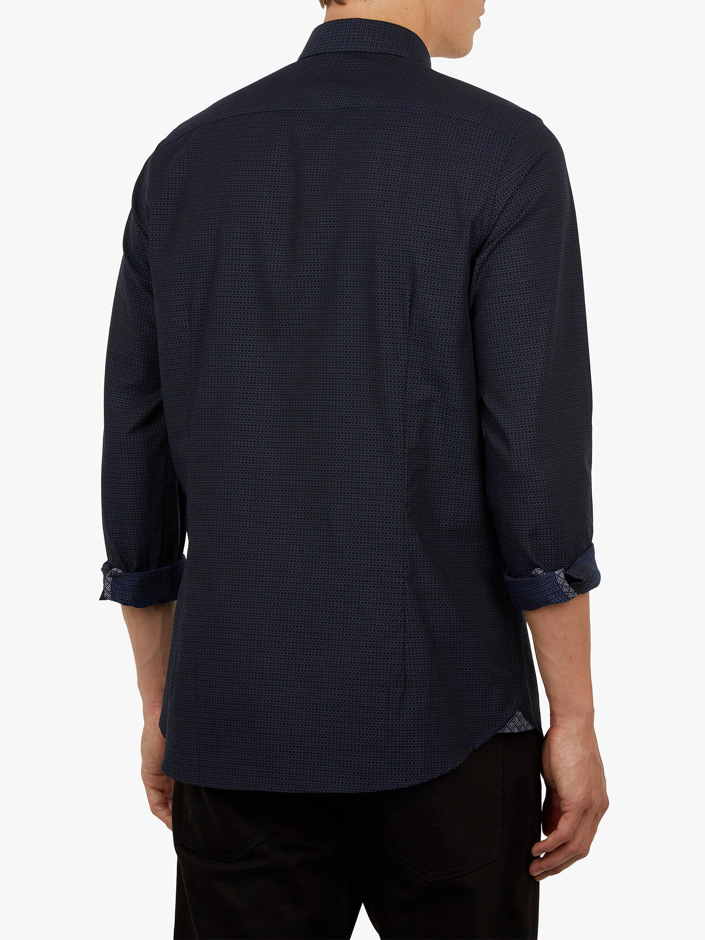 BuyTed Baker Myll Textured Long Sleeve Shirt, Navy, 15 Online at johnlewis.com