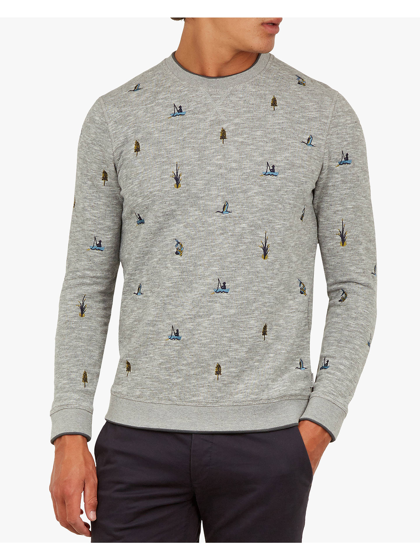 Buy Ted Baker Embroidered Sweatshirt, Grey Marl, XS Online at johnlewis.com