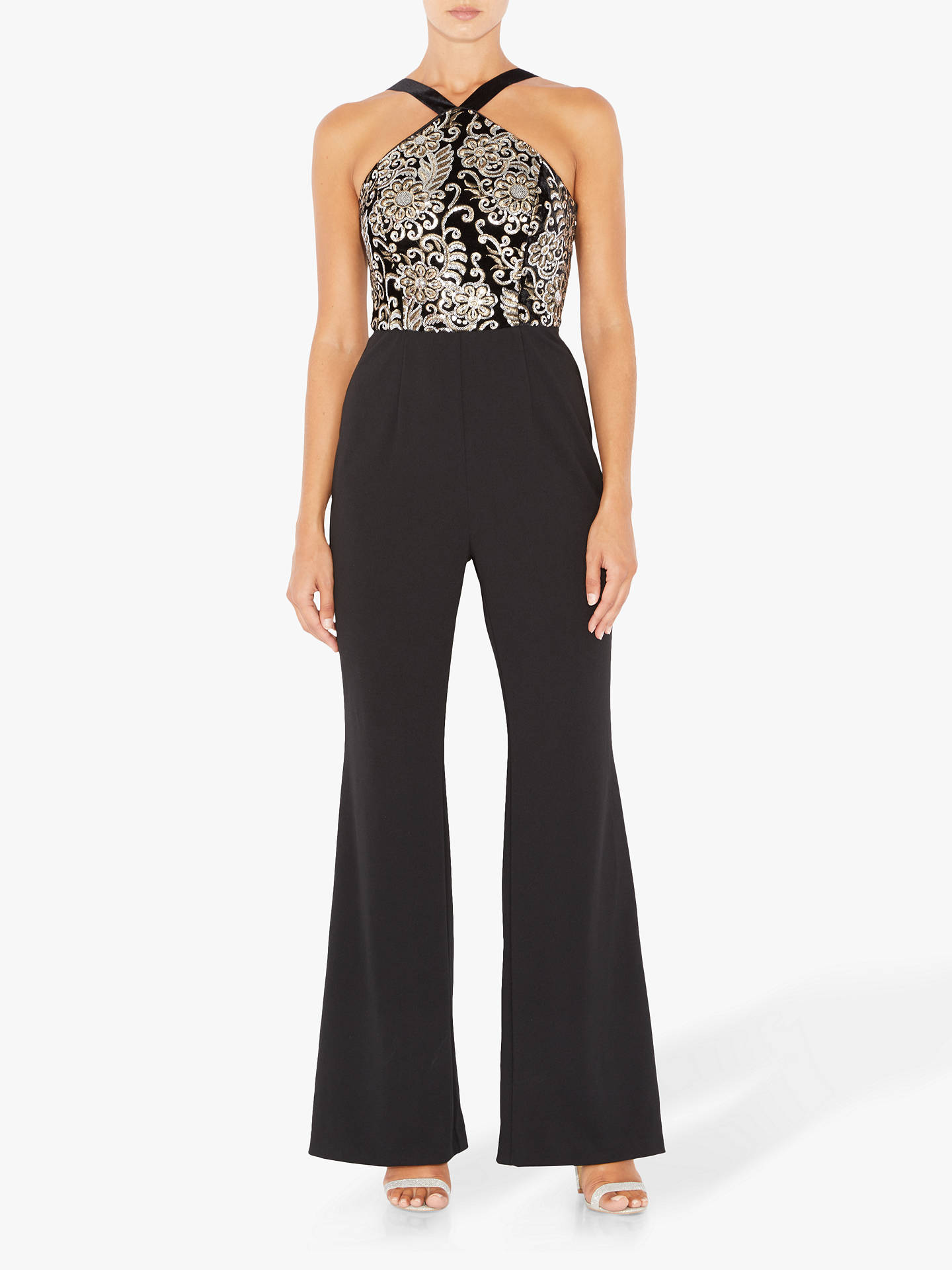 BuyAdrianna Papell Embroidered Knit Crepe Jumpsuit, Multi, 6 Online at johnlewis.com