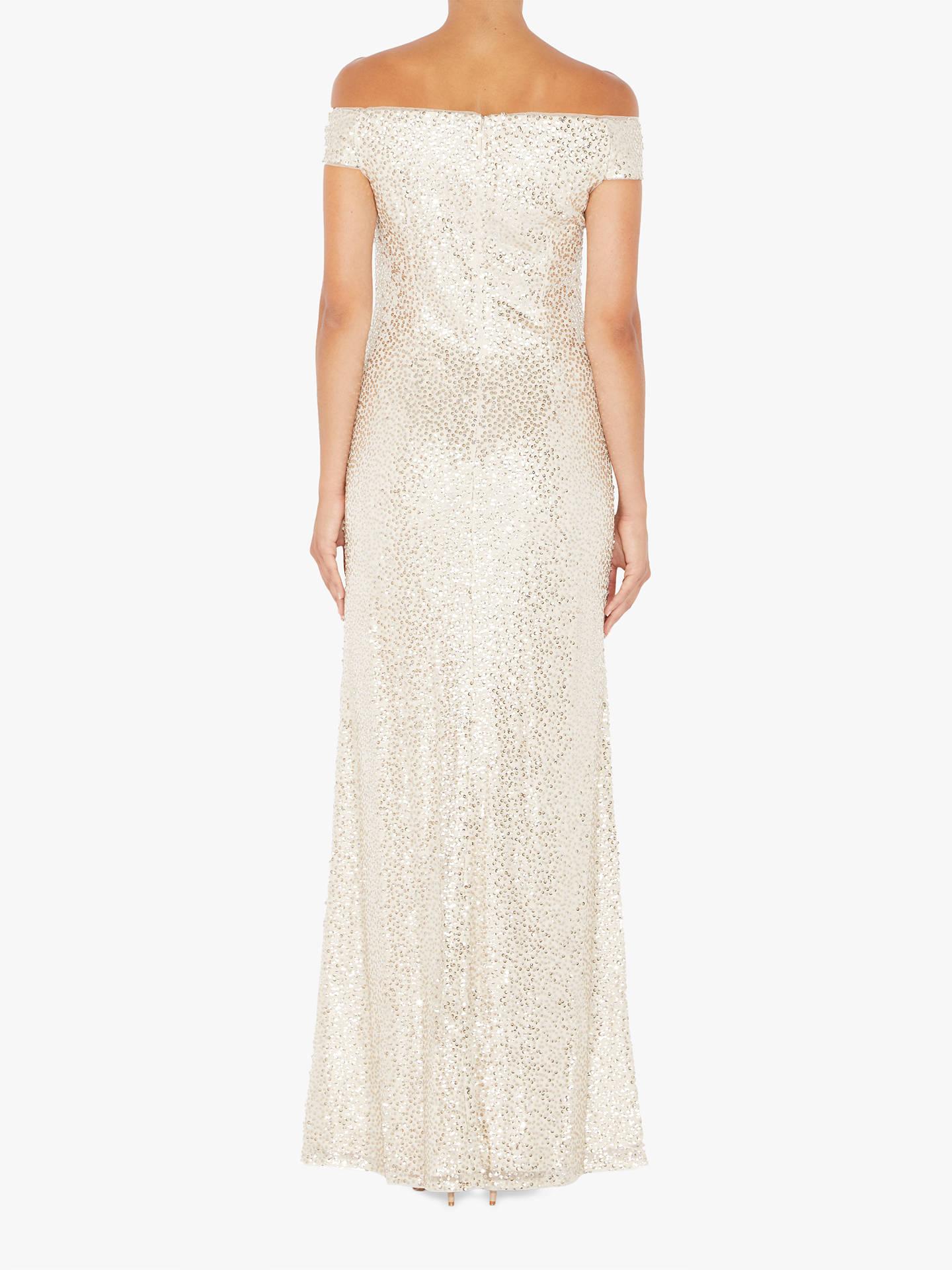 BuyAdrianna Papell Bardot Neckline Long Dress, Natural, 6 Online at johnlewis.com