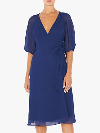 Adrianna Papell Texture Wrap Dress, Blue
