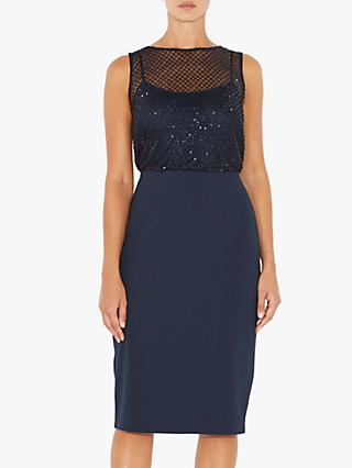 Adrianna Papell Petite Beaded Mesh Dress, Blue