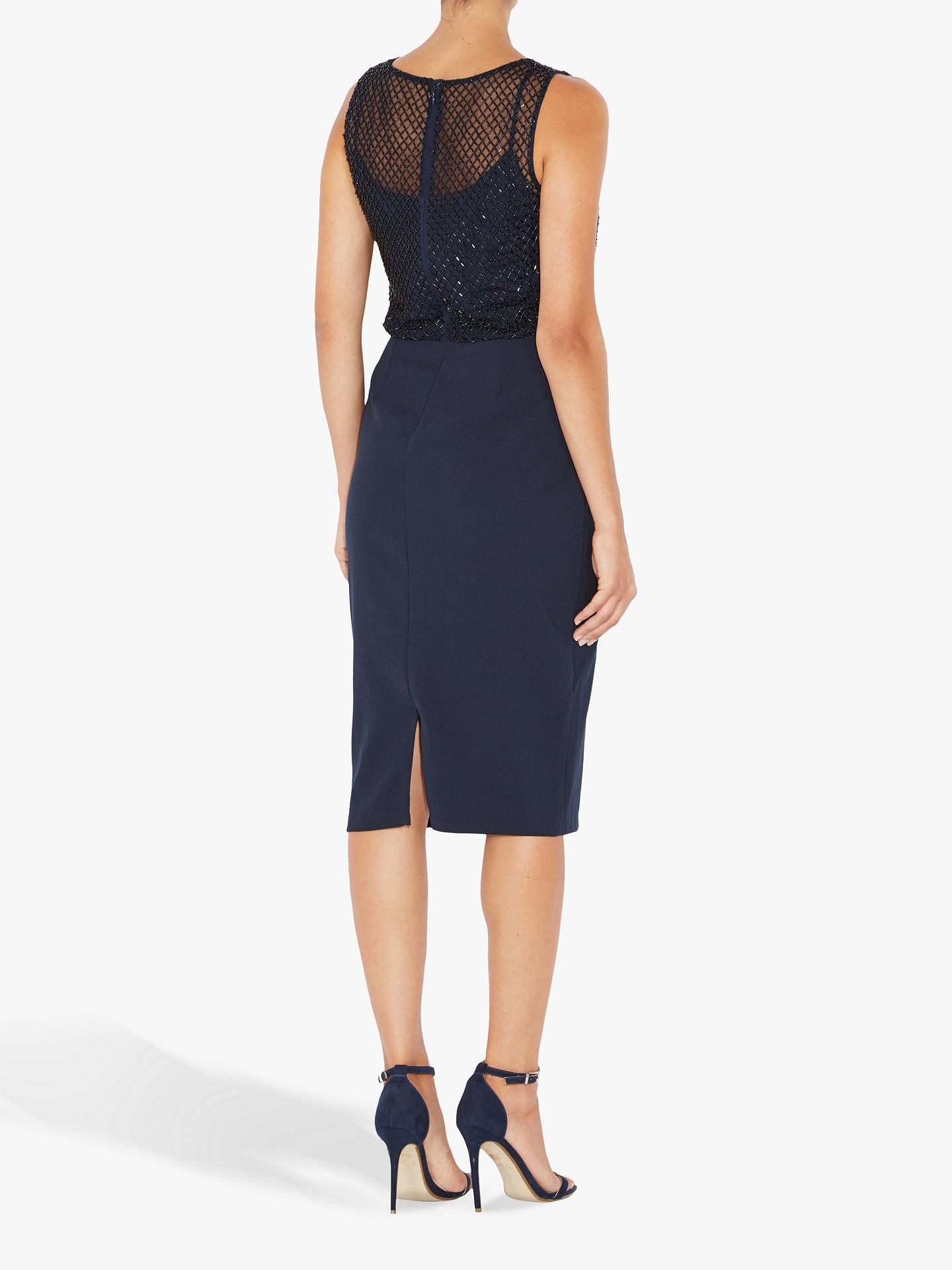 BuyAdrianna Papell Petite Beaded Mesh Dress, Blue, 8 Online at johnlewis.com