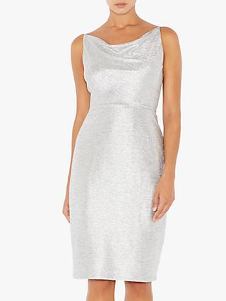 Adrianna Papell Cowl Neck Short Dress, Silver