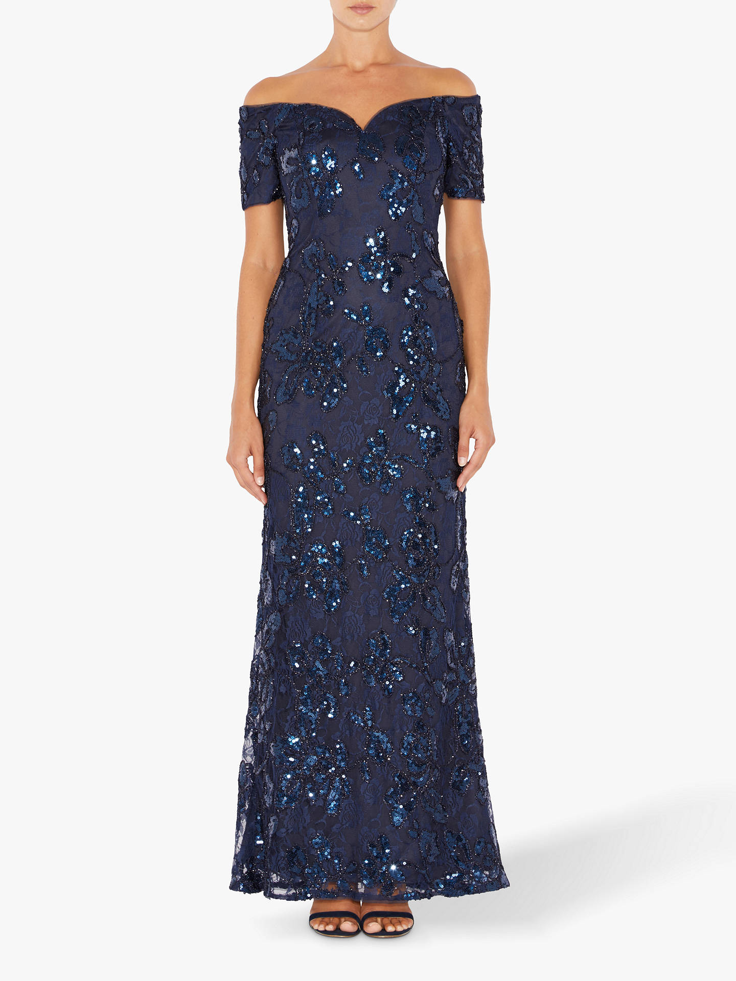 Buy Adrianna Papell Sequin Sweetheart Gown Dress, Midnight, 18 Online at johnlewis.com