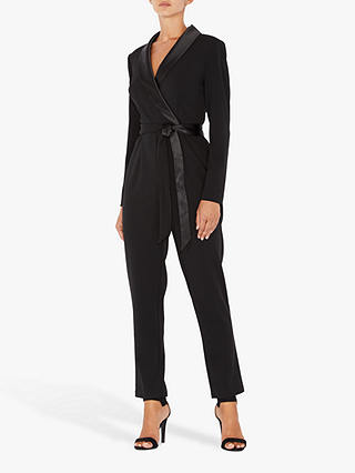 Buy Adrianna Papell Knit Wrap Jumpsuit, Black, 12 Online at johnlewis.com