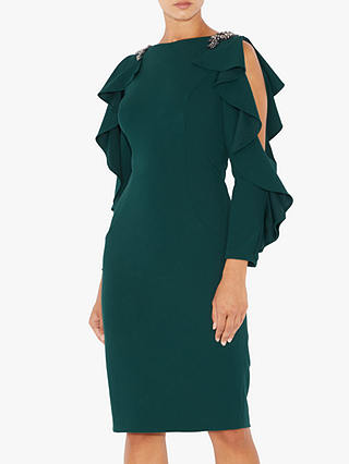 Buy Adrianna Papell Embellished Short Crepe Dress, Dusty Emerald, 12 Online at johnlewis.com