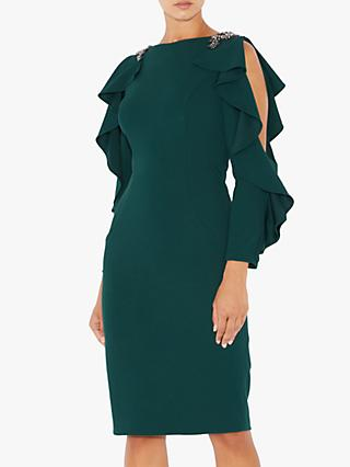 Adrianna Papell Embellished Short Crepe Dress, Dusty Emerald