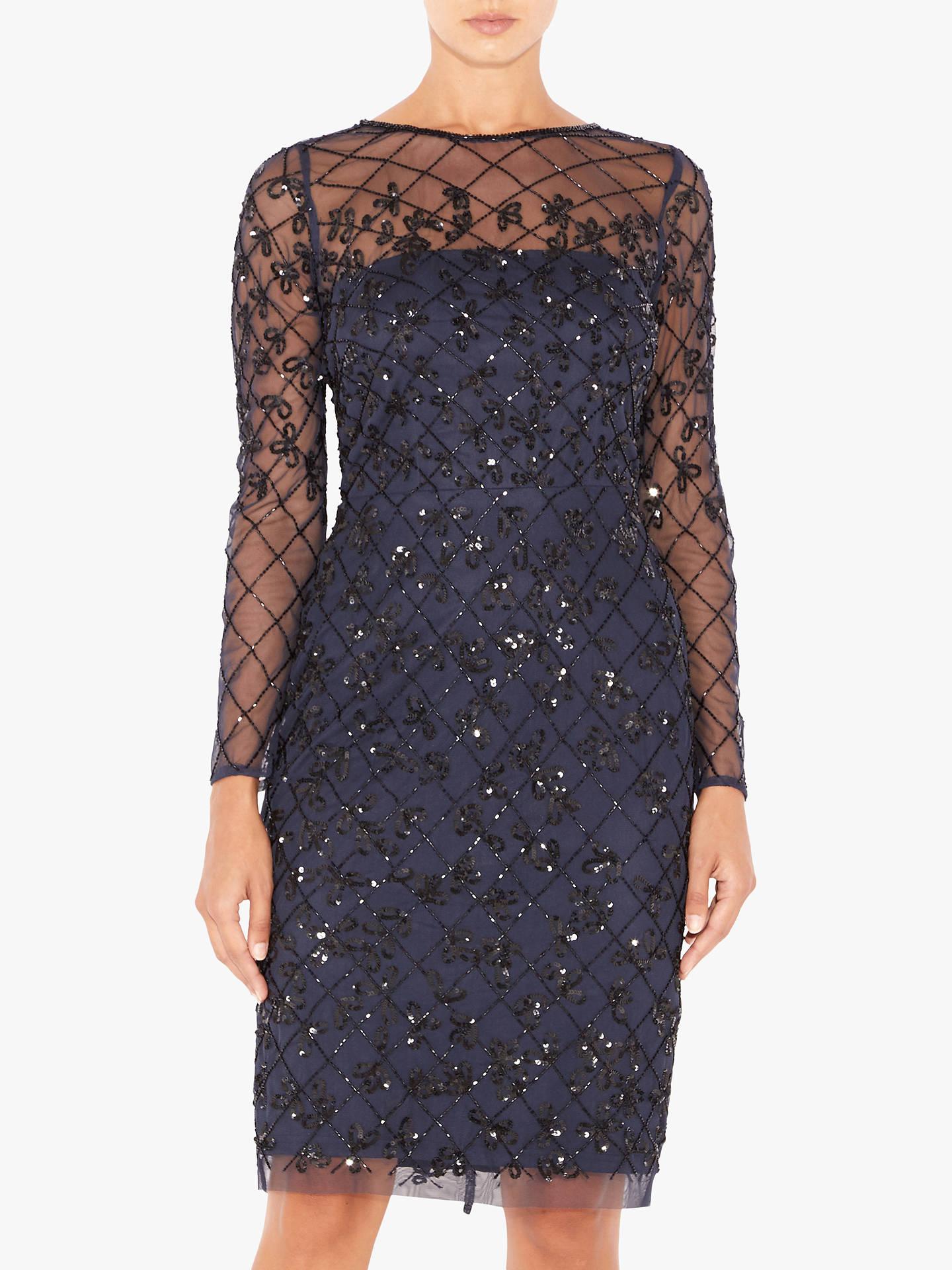 331a4d3d75375 Buy Adrianna Papell Short Beaded Dress, Blue/Black, 8 Online at johnlewis.
