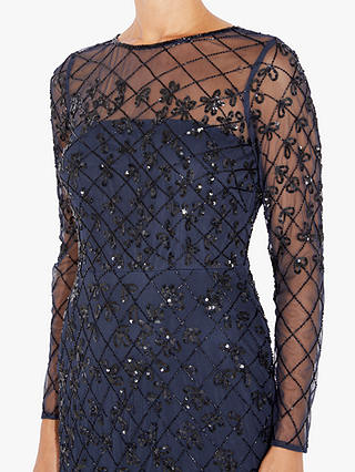 Buy Adrianna Papell Short Beaded Dress, Blue/Black, 8 Online at johnlewis.com