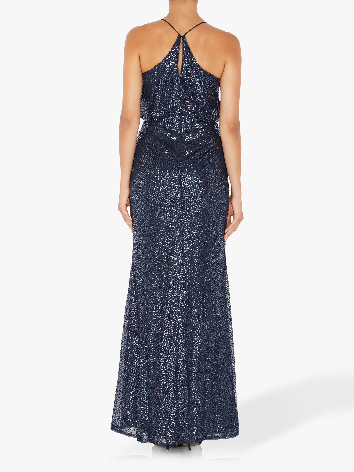 BuyAdrianna Papell Beaded Halterneck Maxi Dress, Blue, 14 Online at johnlewis.com