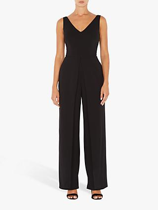 Adrianna Papell V-Neck Knit Jumpsuit, Black