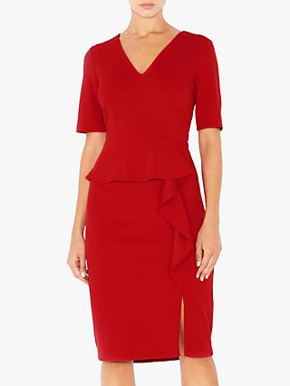 Adrianna Papell Crepe Waterfall Knit Dress, Red