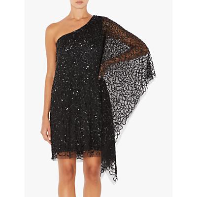 Adrianna Papell Short Beaded Kaftan Dress, Black