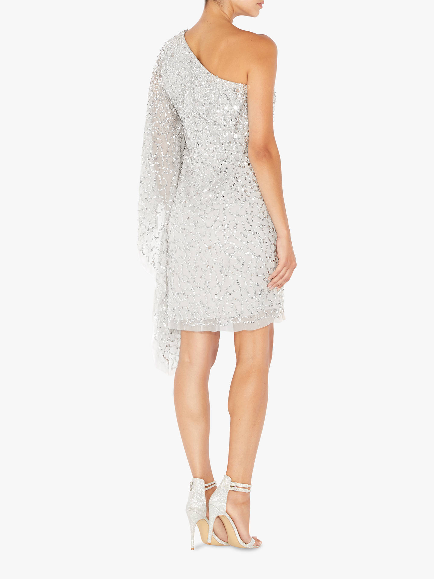 Buy Adrianna Papell Short Beaded Kaftan Dress, Silver, XS Online at johnlewis.com