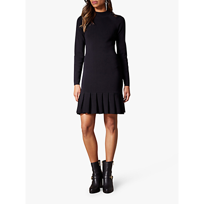 Karen Millen Pleated Hem Bodycon Dress, Black