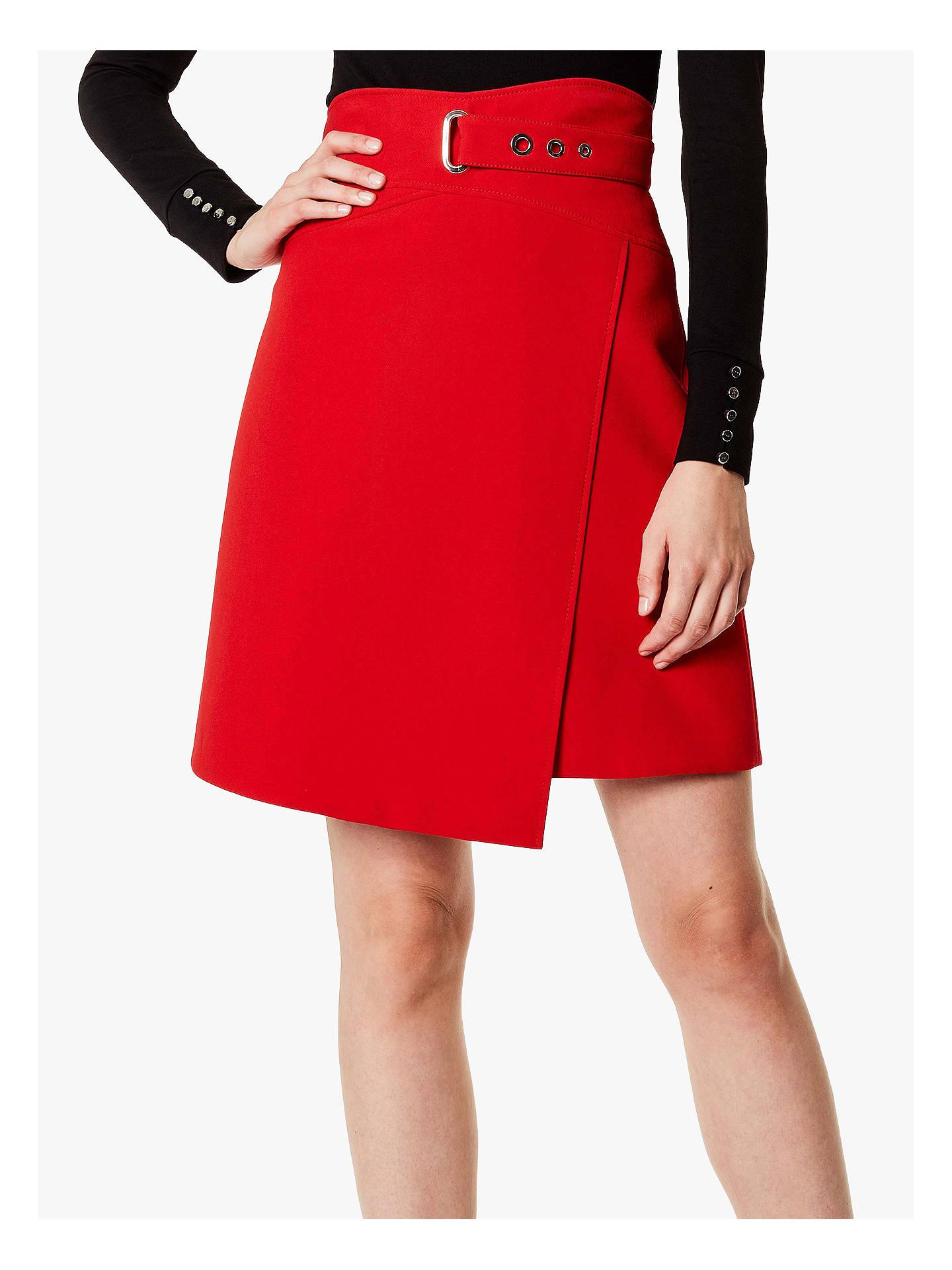 47d0aaca19 Buy Karen Millen A-line Wrap Mini Skirt, Red, 6 Online at johnlewis ...