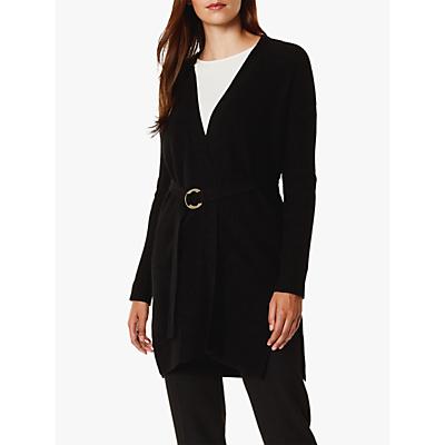 Karen Millen Belted Waist Long Cardigan, Black