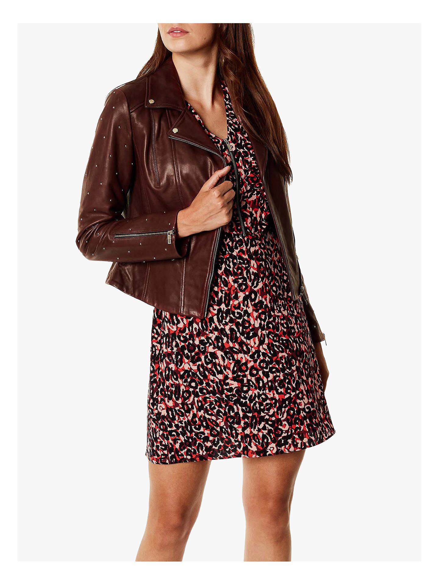 19b070fdb5609 Buy Karen Millen Studded Leather Jacket, Aubergine, 6 Online at  johnlewis.com ...
