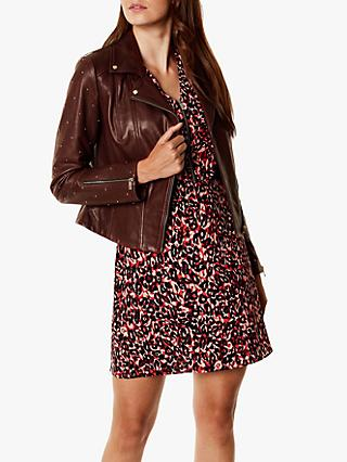 Karen Millen Studded Leather Jacket, Aubergine