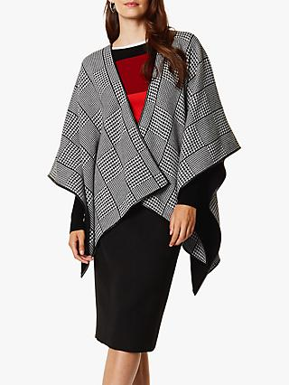 Karen Millen Dogtooth Check Cape, Monochrome