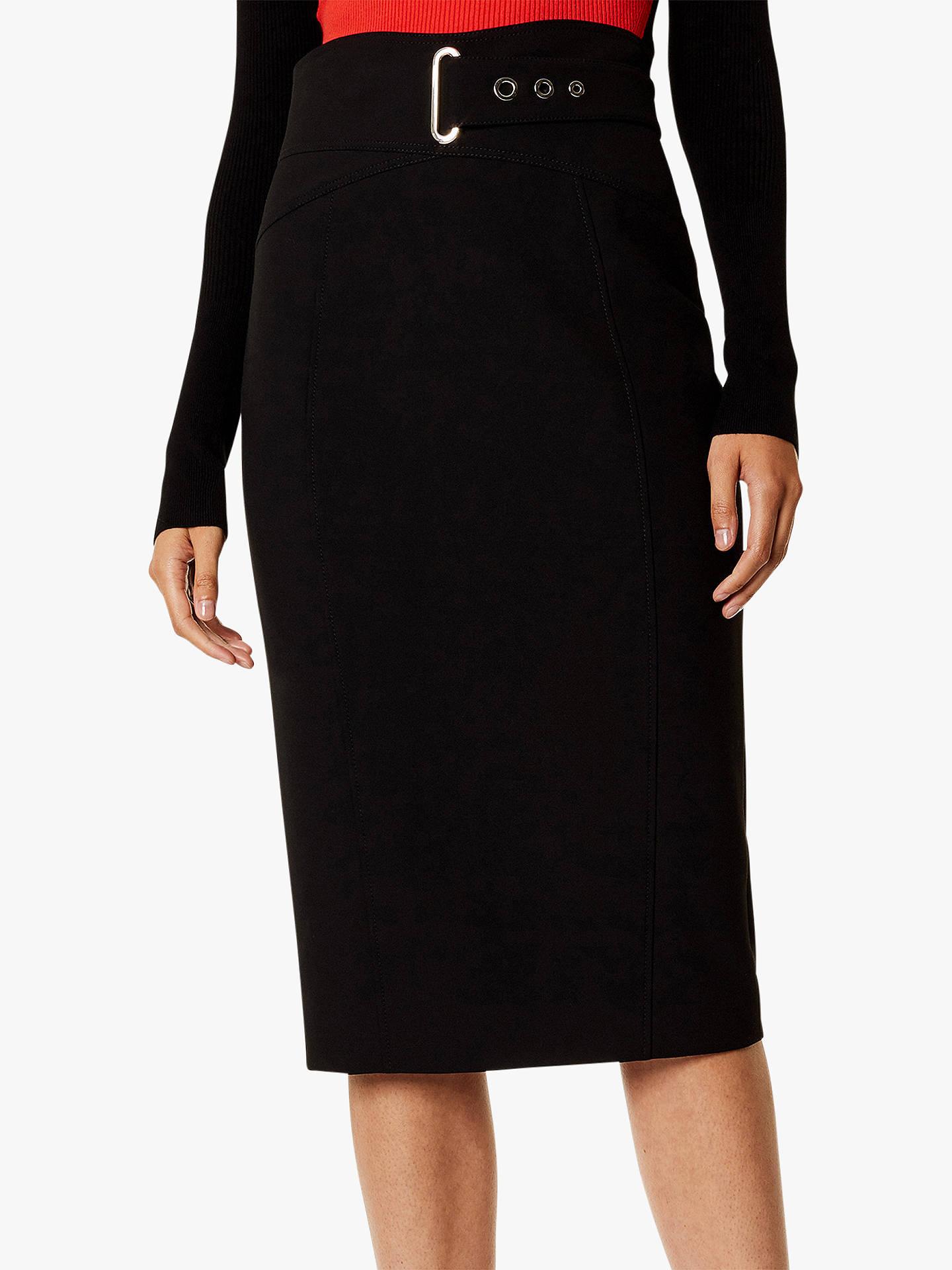 17bd30046 Buy Karen Millen Belted Pencil Skirt, Black, 6 Online at johnlewis.com ...