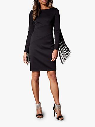 Karen Millen Fringed Sleeve Dress, Black