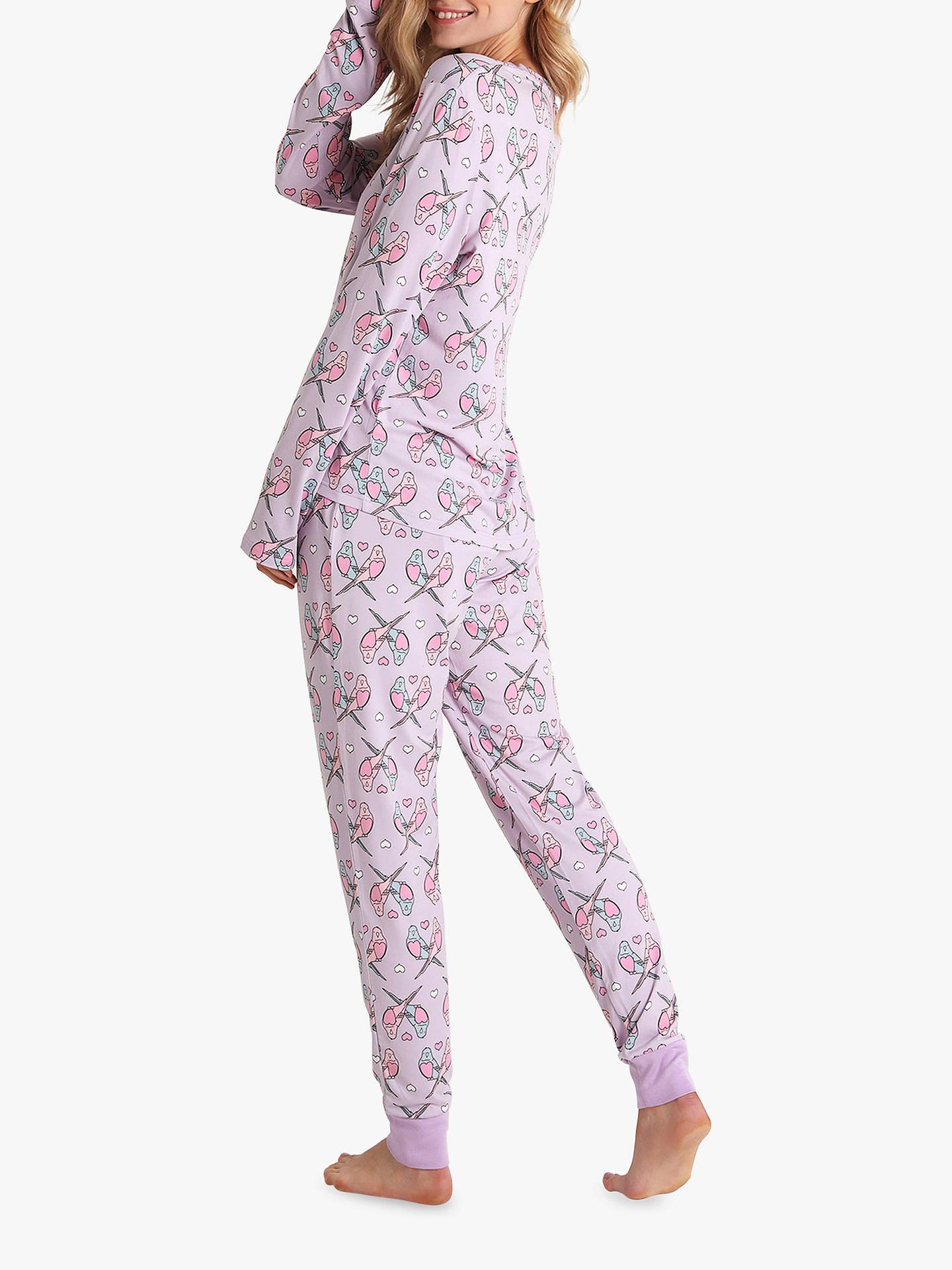 Chelsea Peers Love Budgie Pyjama Set, Lilac at John Lewis