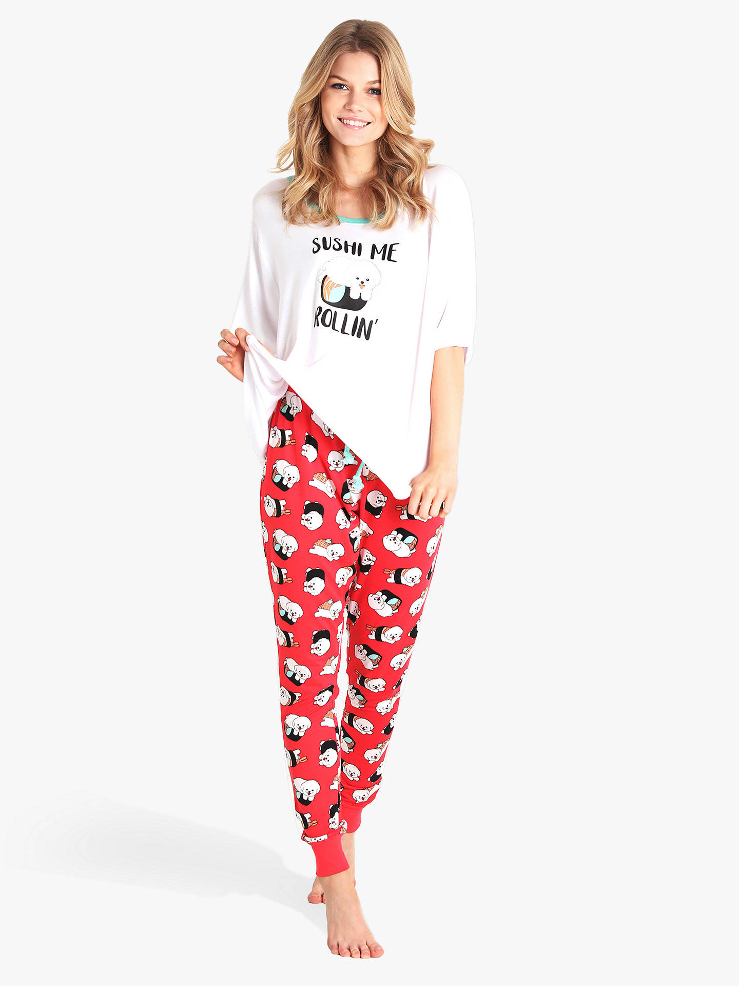 attractive colour exclusive shoes where to buy Chelsea Peers Sushi Me Rollin' Pyjama Set, Ivory/Red at John ...