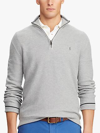 Polo Ralph Lauren Pima Cotton Half Zip Sweatshirt, Andover Heather