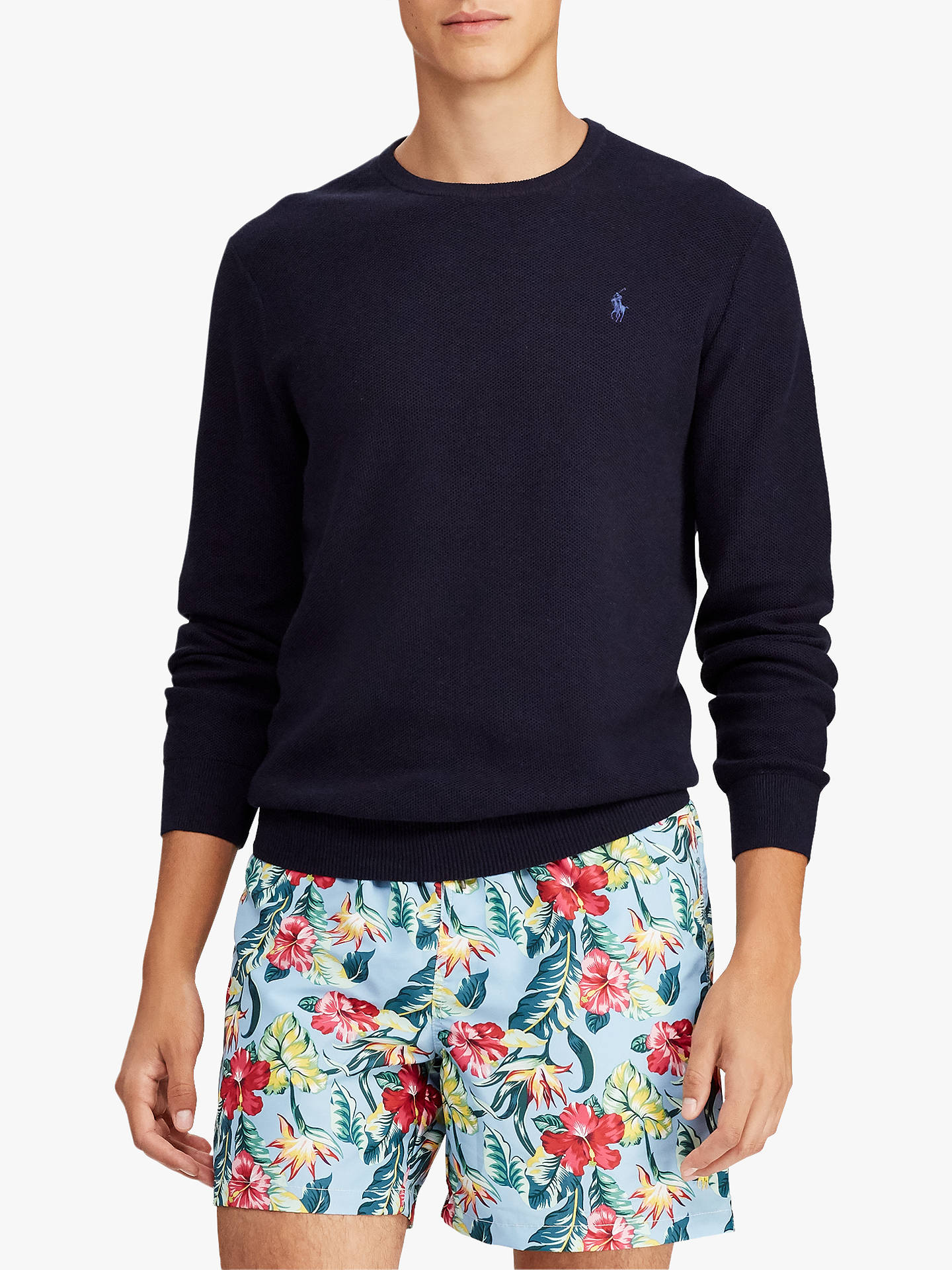 BuyPolo Ralph Lauren Pima Cotton Sweatshirt, Navy Heather, M Online at  johnlewis.com ... 74122749085
