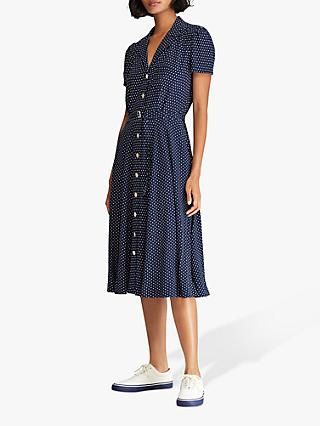 Polo Ralph Lauren Polka Dot Crepe Shirt Dress, Navy