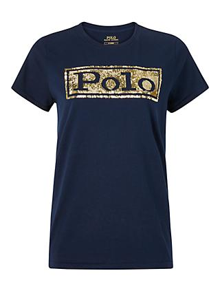 Polo Ralph Lauren Sequin Logo T-Shirt, Cruise Navy