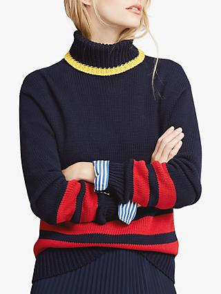 Polo Ralph Lauren Double Stripe Colour Block Jumper, Navy/Red/Gold