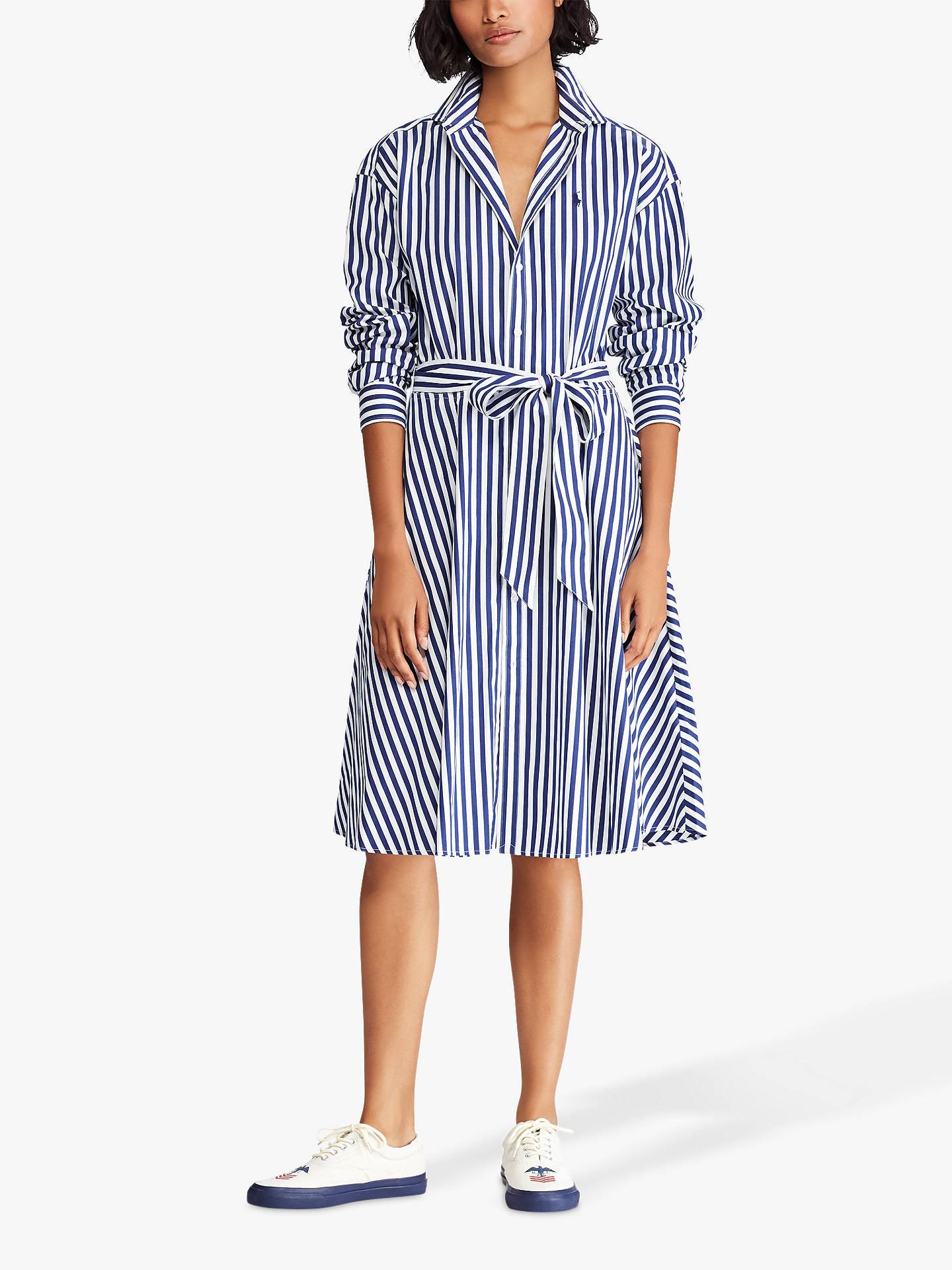 52a17850 Buy Polo Ralph Lauren Bengal Stripe Shirt Dress, Navy/White, 8 Online at ...