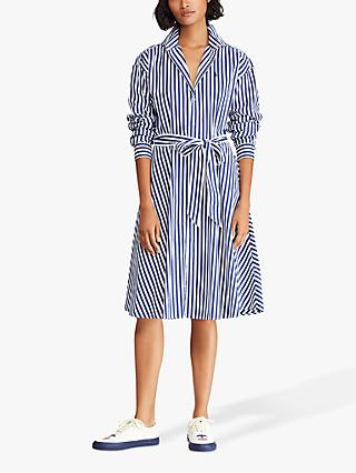 Polo Ralph Lauren Bengal Stripe Shirt Dress, Navy/White
